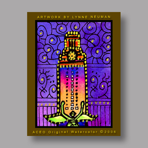 Signed ACEO *UT Tower Austin Texas #558* by Lynne Neuman