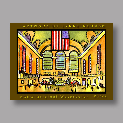 Signed ACEO *Grand Central New York #597* by Lynne Neuman