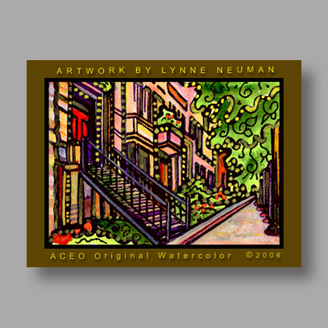 Signed ACEO *New York City Brownstone #639* by Lynne Neuman