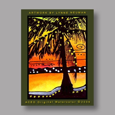 Signed ACEO *Florida Ocean Sunset #647* by Lynne Neuman