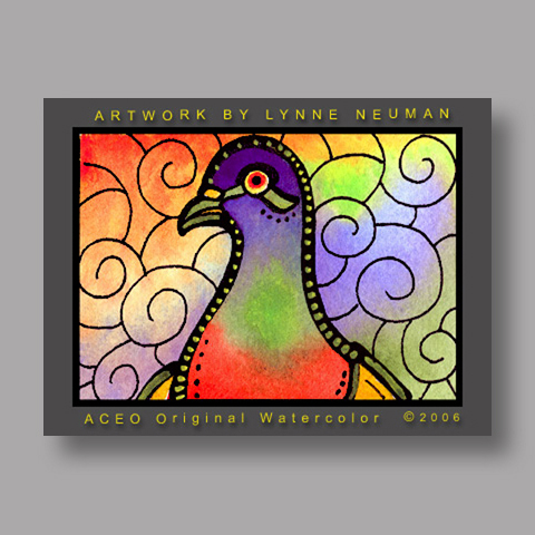 Signed ACEO *Colorful Pigeon #0667* by Lynne Neuman