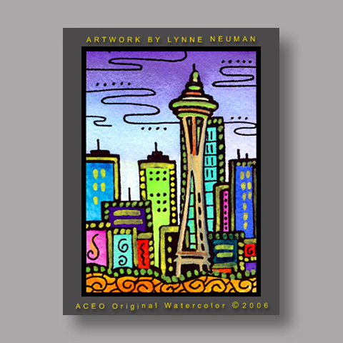 Signed ACEO *Seattle Skyline #671* by Lynne Neuman
