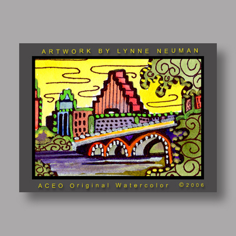 Signed ACEO *Austin Texas Skyline #889* by Lynne Neuman