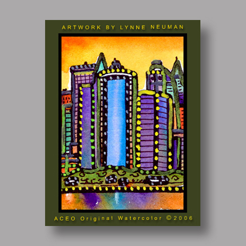 Signed ACEO *New York Skyline NY #896* by Lynne Neuman
