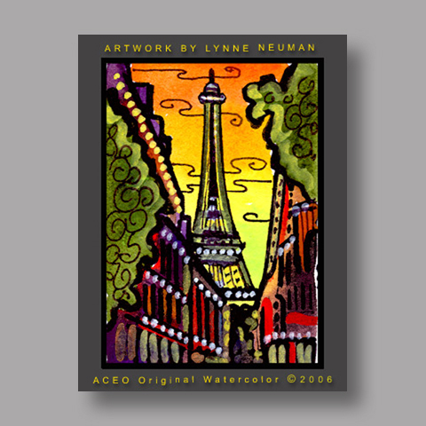 Signed ACEO *Eiffel Tower Paris #1122* by Lynne Neuman