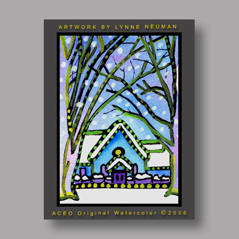 Signed ACEO *Winter Church #1170* by Lynne Neuman