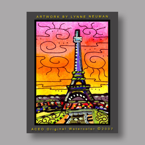 Signed ACEO *Eiffel Tower Paris #1452* by Lynne Neuman