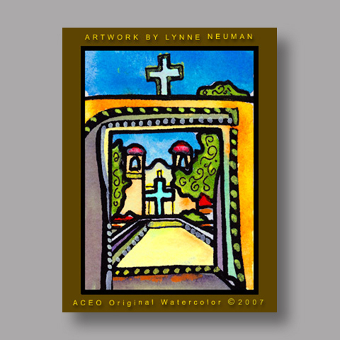 Signed ACEO *New Mexico Church #1640* by Lynne Neuman