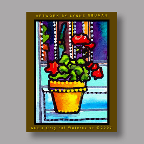 Signed ACEO *Flower Pot #1658* by Lynne Neuman
