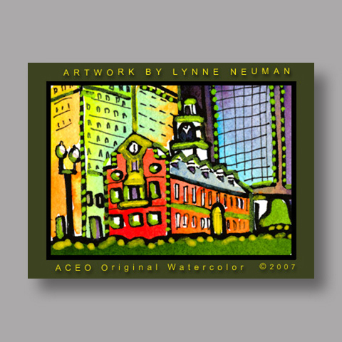 Signed ACEO *Boston Massachusetts #1743* by Lynne Neuman