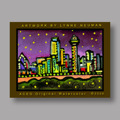 Signed ACEO *Dallas Texas Skyline at Night #1983* by Lynne Neuman