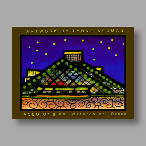 Signed ACEO *Cleveland Ohio Rock and Roll Hall of Fame #1985* by Lynne Neuman