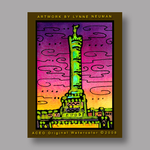 Signed ACEO *July Column Paris France #2030* by Lynne Neuman