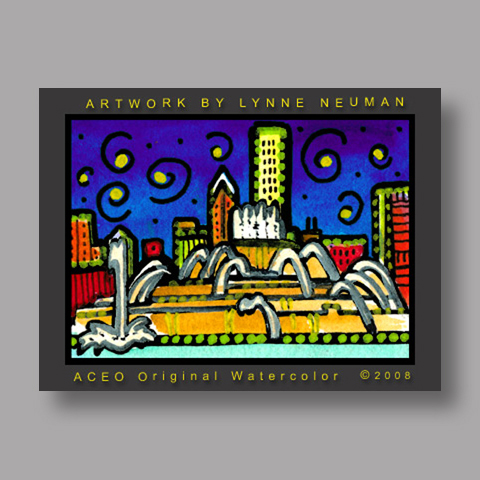Signed ACEO *Chicago Buckingham Fountain #2095* by Lynne Neuman