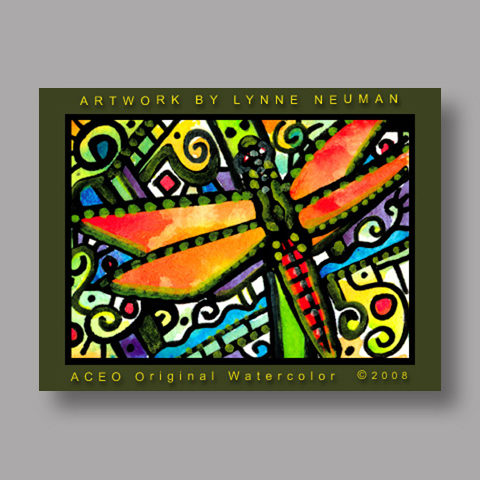 Signed ACEO *Dragonfly #2125* by Lynne Neuman