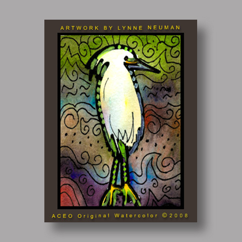 Signed ACEO *Florida Egret Bird #2363* by Lynne Neuman