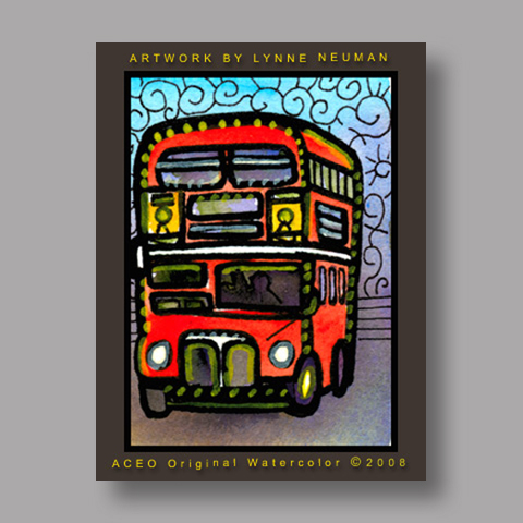 Signed ACEO *London Double Decker Bus #2381* by Lynne Neuman