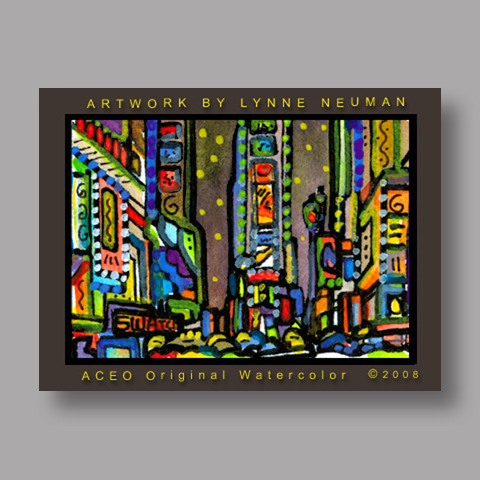 Signed ACEO *Times Square New York #2598* by Lynne Neuman