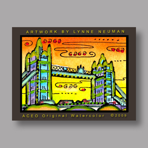 Signed ACEO *London Tower Bridge #2683* by Lynne Neuman