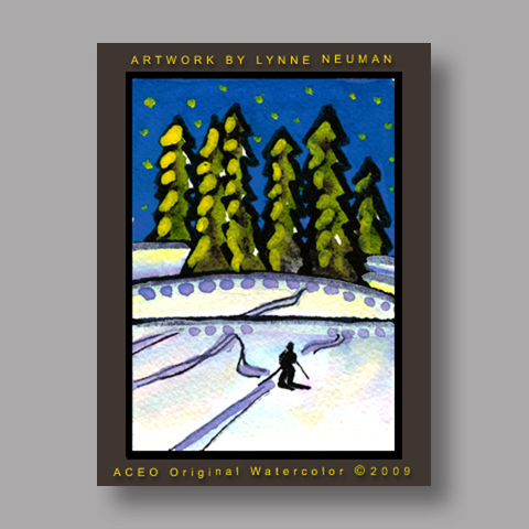 Signed ACEO *Skiing Colorado #2688* by Lynne Neuman