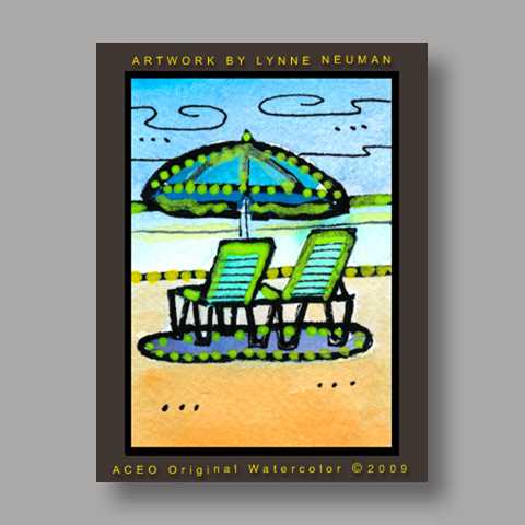Signed ACEO *Beach Chairs Umbrella Sanibel Florida #2910* by Lynne Neuman