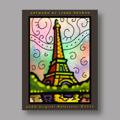 Signed ACEO *Paris France Eiffel Tower Illustration #3036* by Lynne Neuman