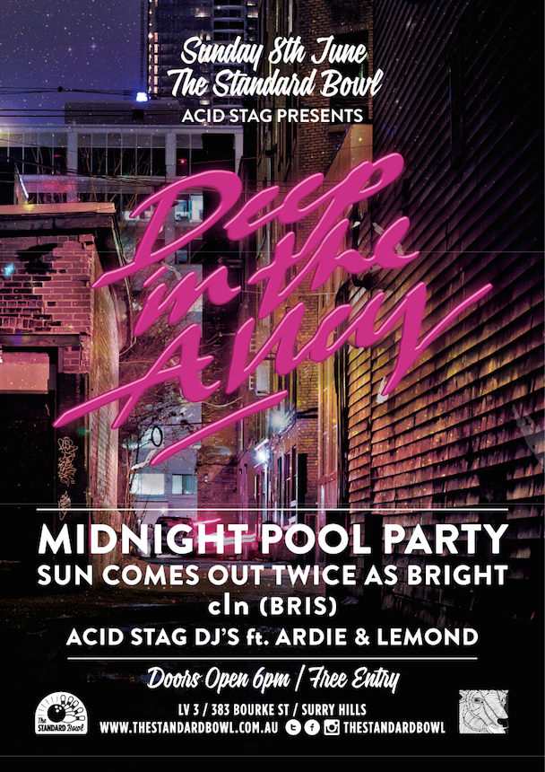 acid stag presents - Deep In The Alley - Midnight Pool Party - cln Acid Stag DJs_poster