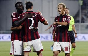 Trofeo-TIM-2014-AC-Milans-Honda-celebrates-goal-v-Juventus-with-Muntari-and-De-Sciglio