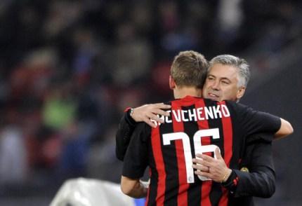 AC Milan's Andrei Shevchenko is congratu