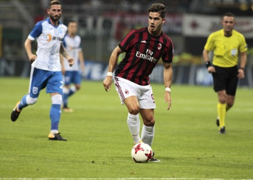 Andre Silva during the preliminaries of Europa League 2017/2018 match between Milan v Craiova, in Milan, on august 3, 2017 (Photo by Loris Roselli/NurPhoto).