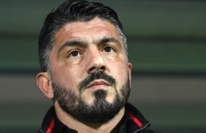 AC Milan's head coach Gennaro Gattuso looks on prior to the UEFA Europa League Group D football match between HNK Rijeka and AC Milan at The Rujevica Stadium in Rijeka on December 7, 2017.  / AFP PHOTO / STR