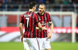 Leonardo Bonucci, Nikola Kalinic of Milan during the Italian championship Serie A football match between AC Milan and Torino FC on November 26, 2017 at Giuseppe Meazza in Milan, Italy - Photo Morgese - Rossini / DPPI