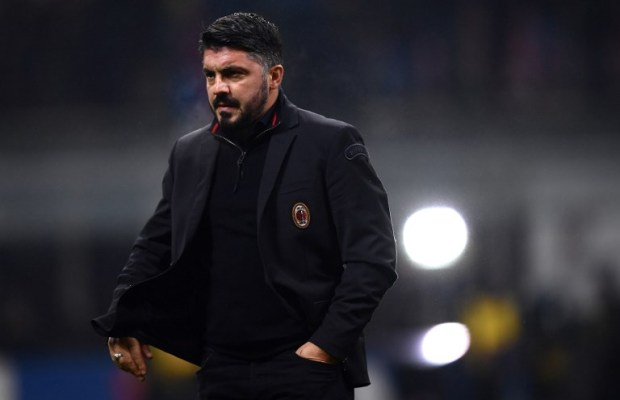 AC Milan's coach Gennaro Gattuso is pictured during the Italian Serie A football match AC Milan vs Bologna on December 10, 2017 at the 'San Siro Stadium' in Milan.  / AFP PHOTO / MARCO BERTORELLO