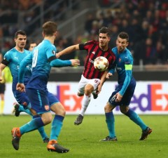 Andre Silva of Milan during the UEFA Europa League round of 16 first-leg football match AC Milan Vs Arsenal on March 8, 2018 at the Meazza Stadium - San Siro in Milan, Italy - Photo Morgese/Rossini / DPPI