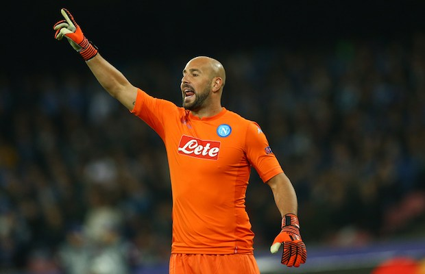 Pepe Reina of Napoli during the UEFA Champions League football match Napoli vs Manchester City on November 1, 2017 at the San Paolo stadium in Naples. Manchester City won 2-4. (Photo by Matteo Ciambelli/NurPhoto)