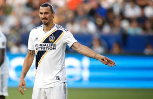 CARSON, CA - JULY 29: Zlatan Ibrahimovic #9 of the Los Angeles Galaxy prepares for a play at StubHub Center on July 29, 2018 in Carson, California.   Katharine Lotze/Getty Images/AFP