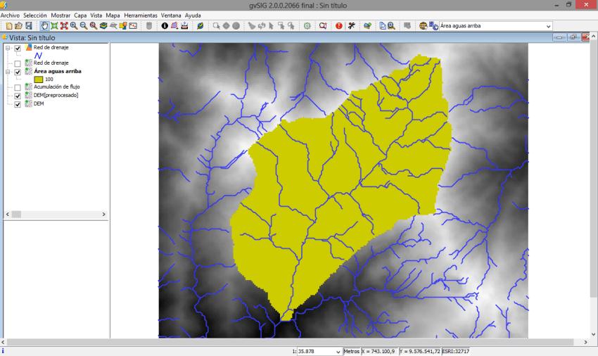 Cuenca delimitada gvSIG 2