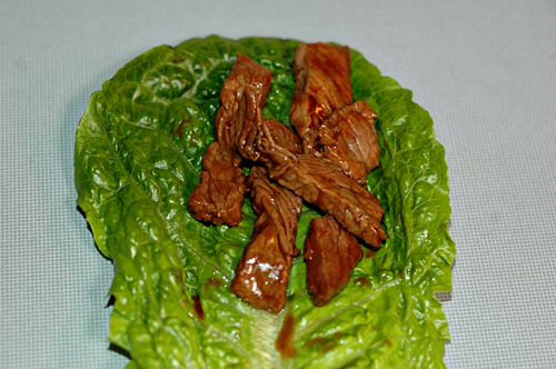 beef in lettuce leaf