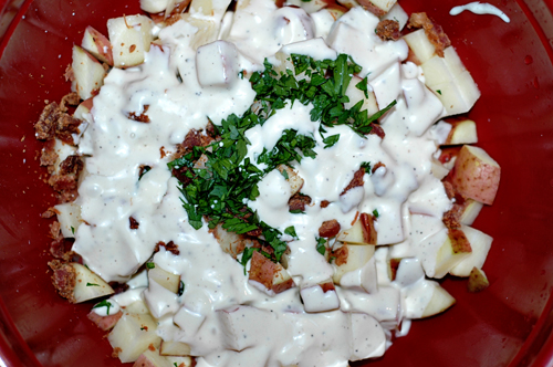 Red Potatoes w/Ranch, bacon, and parsley