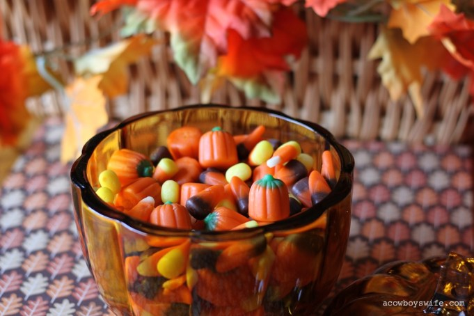 Pumpkin Candy Dish with Candy Corn