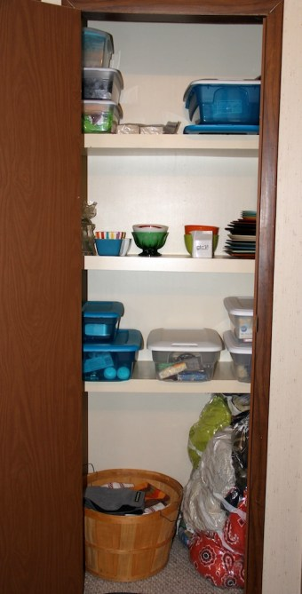 hall closet decluttered