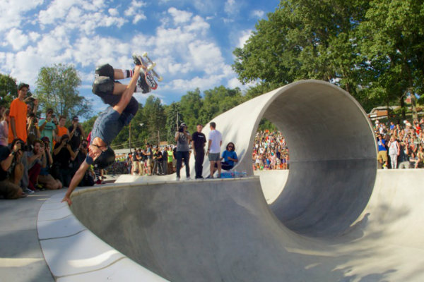 tony hawk skates in front of a pittsburgh crowd at pitcher park memorial skate park in carnegie pennsylvania