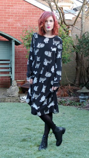 cat print dress and office lace up boots