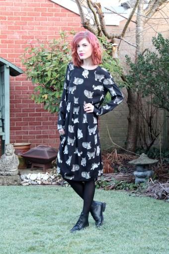 cat print dress from zara