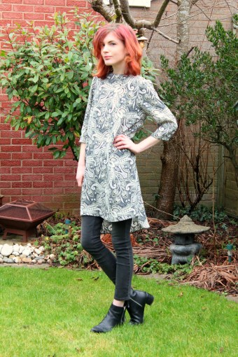 paisley dress over jeans