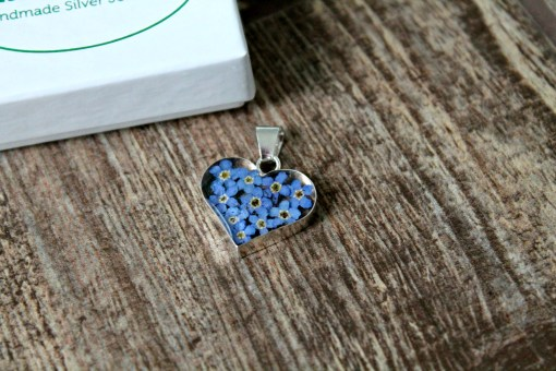 silver bubble forget me not pendant
