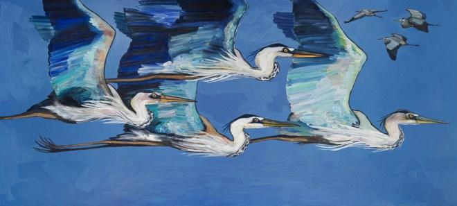 Blue Herons Flight - by Eli Halpin