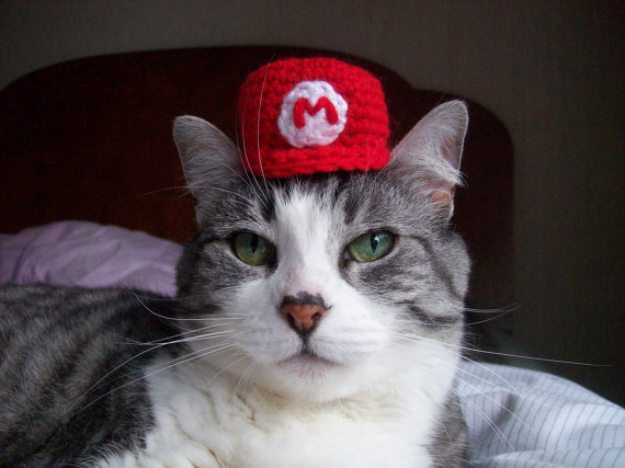 Make your cat look like a geek, too with the Mario hat