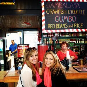 Brooke and Sarah at Cajun Cafe at the Market