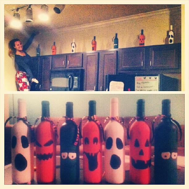diy Halloween painted wine bottles